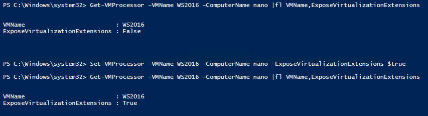 PowerShell command to enable CPU extension virtualization
