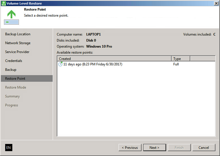 Restore from a cloud provider with Veeam Agent for Microsoft Windows