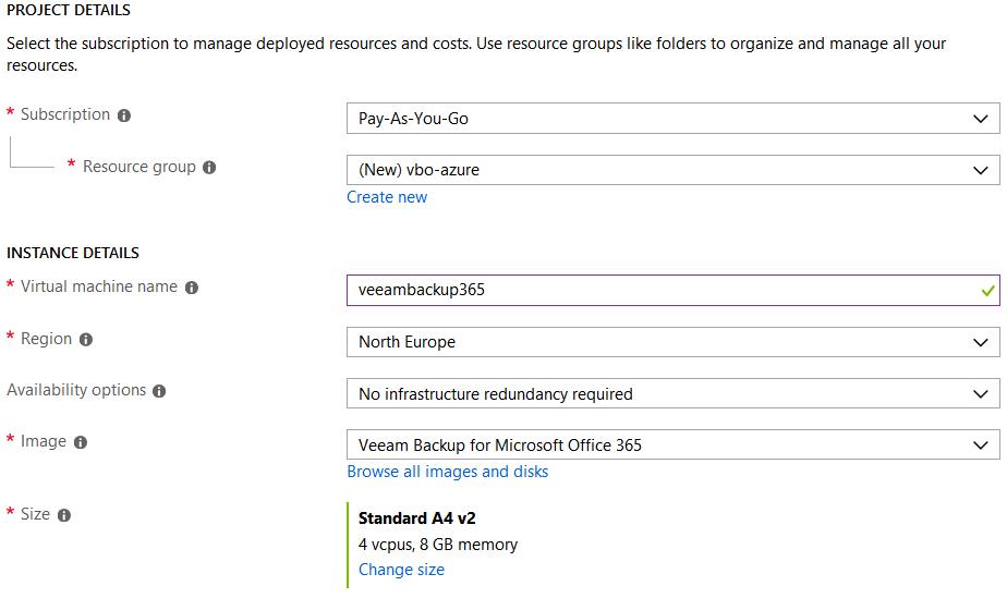 VBO365 Azure deployment