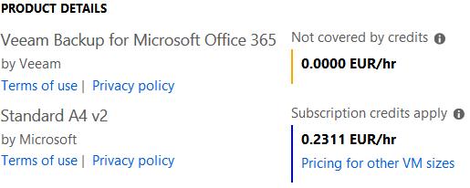VBO365 Azure pricing