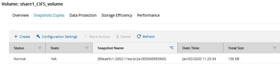 NetApp snapshot in OnCommand Manager.
