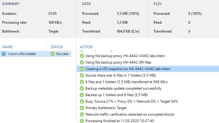 VSS snapshot used during NAS backup.