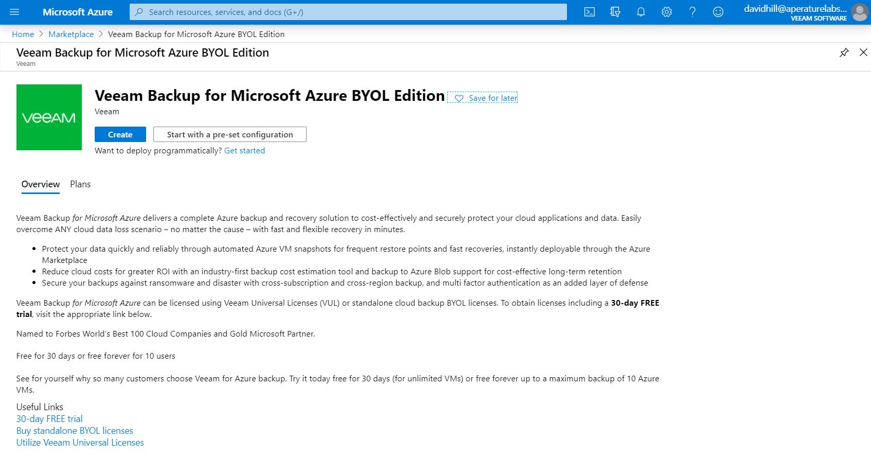 Veeam Backup for Microsoft Azure easy deployment via Azure Marketplace