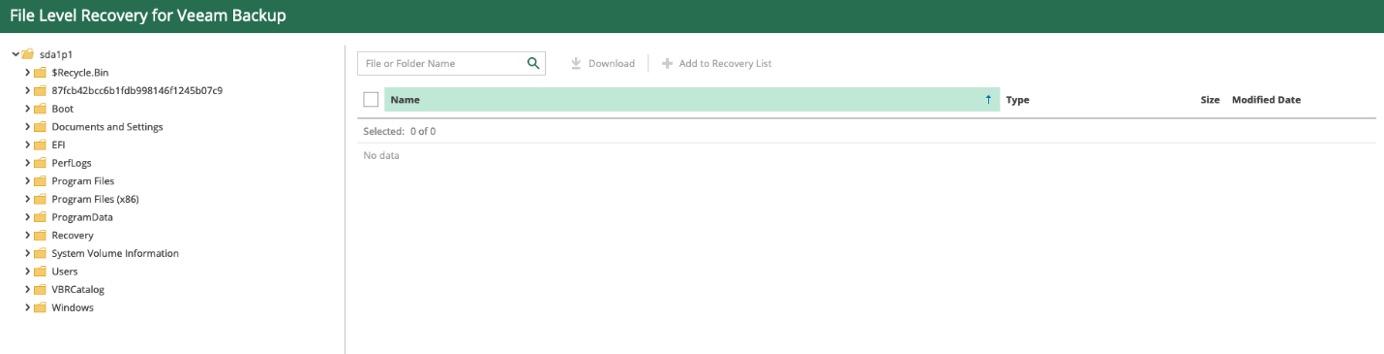 Veeam Backup for Microsoft Azure granular file-level recovery