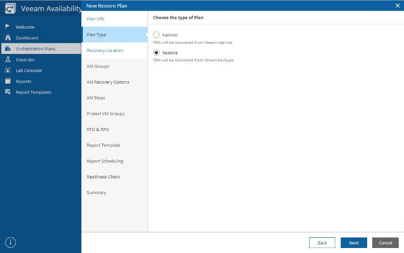 Creating a DR plan in Veeam Availability Orchestrator's easy-to-use HTML 5 interface.