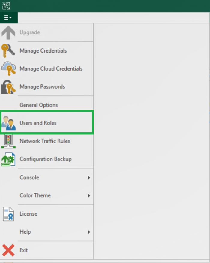 "Navigating to ""Users and Roles"" section in the Veeam Backup & Replication console menu"