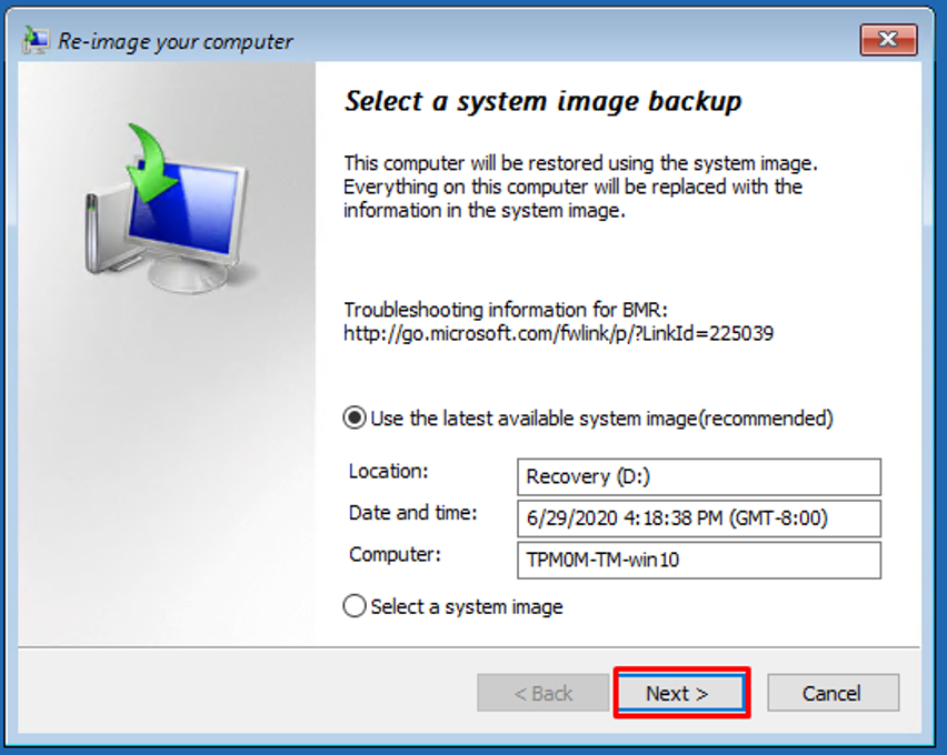 Select Image Backup
