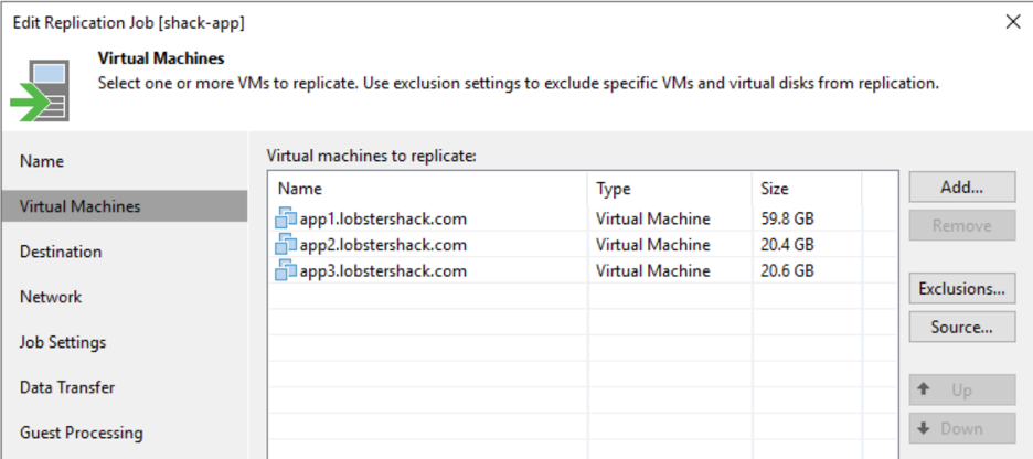 Replication jobs are easily configured for groups of source machines.