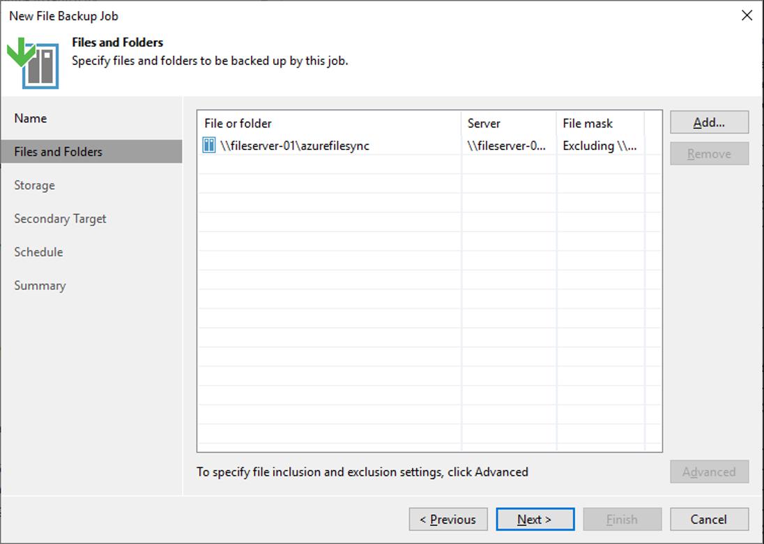 Figure 5: Add file share to backup job