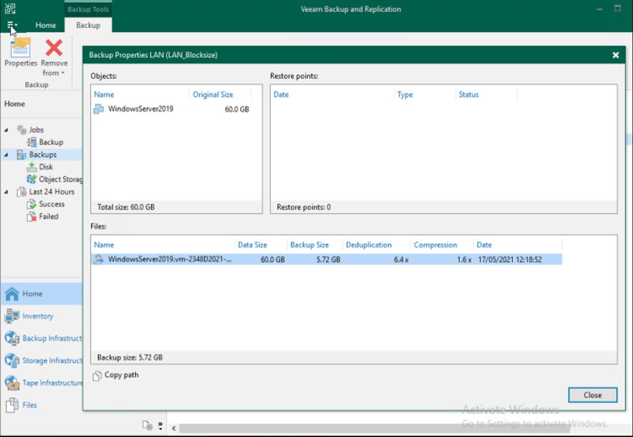 Image showing a Veeam backup properties window