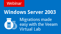 Windows Server 2003 Migrations made easy with the Veeam Virtual Lab