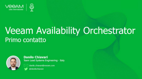 Veeam Availability Orchestrator – Primo contatto