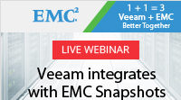 Veeam integrates with EMC Snapshots in NEW Veeam Availability Suite v9