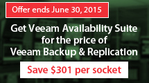 Buy Veeam Availability Suite for the price of Backup & Replication.Buy before June 30th and get v9 for FREE!