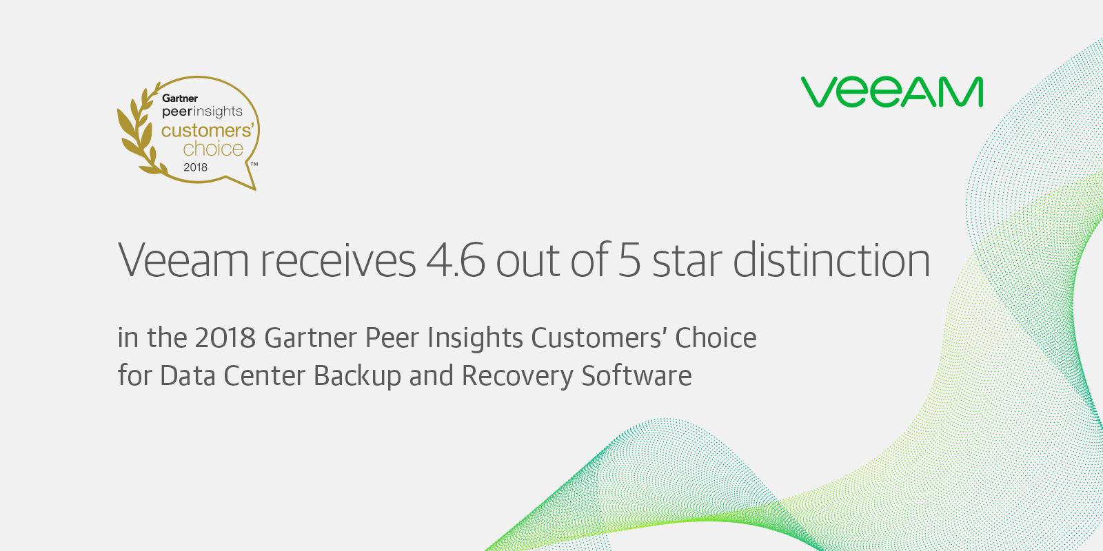 Veeam Receives 2018 Gartner Peer Insights Customers' Choice Recognition