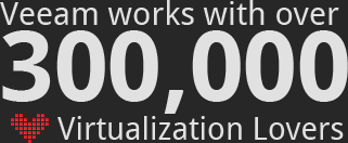Veeam works with over 300 000 Virtualisation lovers