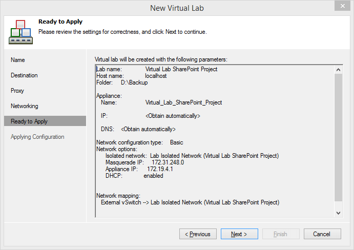 Configuring a Virtual Lab