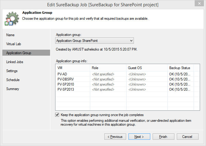 Creating a SureBackup job for your SharePoint Application Group