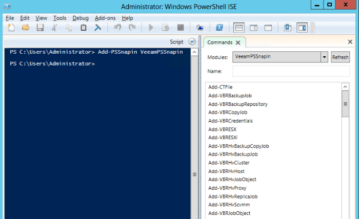 Windows PowerShell ISE, module VeeamPSSnapin