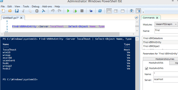 A list of Hyper-V VMs and hosts added to Veeam console