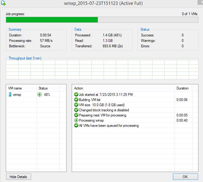 VeeamZIP backup of selected Hyper-V VM, GUI