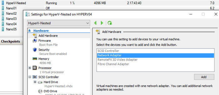 Hot add of memory and networking adapters - What's new in Hyper-V 2016