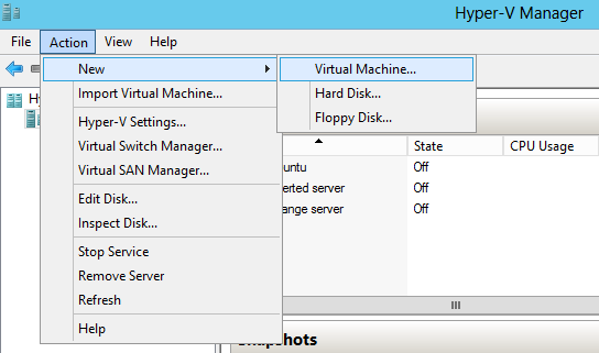 Step 4. Create a new VM on a Hyper-V host. Pic 1