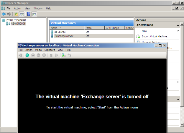 Hyper-V Manager. Virtual Machine Connection
