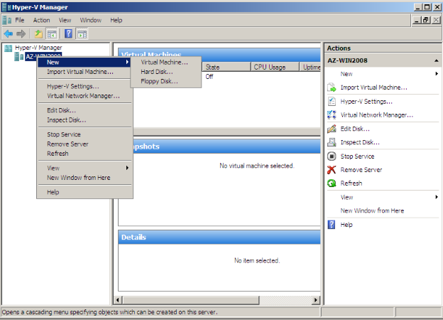 Hyper-V Manager. New VM creation.