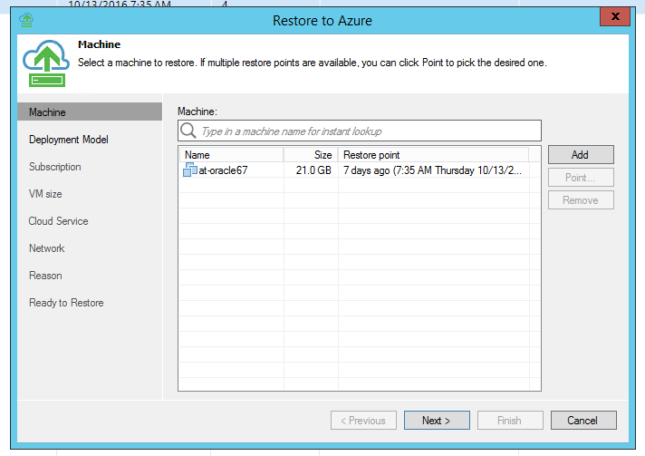 Azure cloud recovery for Veeam backups.