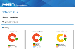 Veeam MP Protected VMs report shows which VMs have valid recovery points and which VMs lack proper backup protection