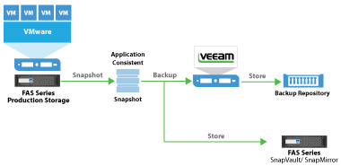 Componenti di un backup Veeam con storage FAS