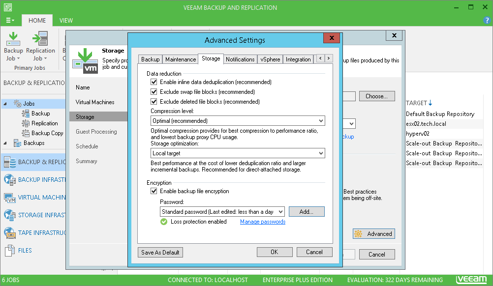 Veeam Backup & Replication protegge i dati attraverso la crittografia end-to-end AES 256-bit.