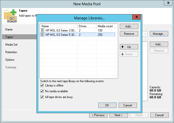 "You can configure a ""global"" media pool that can use several tape libraries or standalone drives."