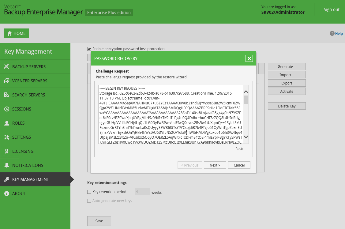 Even if you lose or forget the password, you can still recover data from encrypted backup files with the help of Veeam Backup Enterprise Manager.