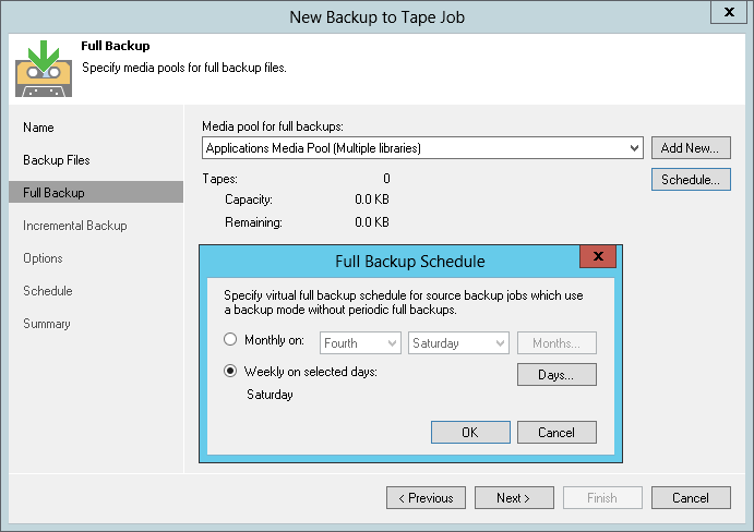 Veeam helps you streamline the backup process and shrink the number of tapes required to perform tape out from such source backup file chains by scheduling a periodic virtual full backup that automatically compiles the individual parts of incremental backup chain into a virtual full backup file for tape out
