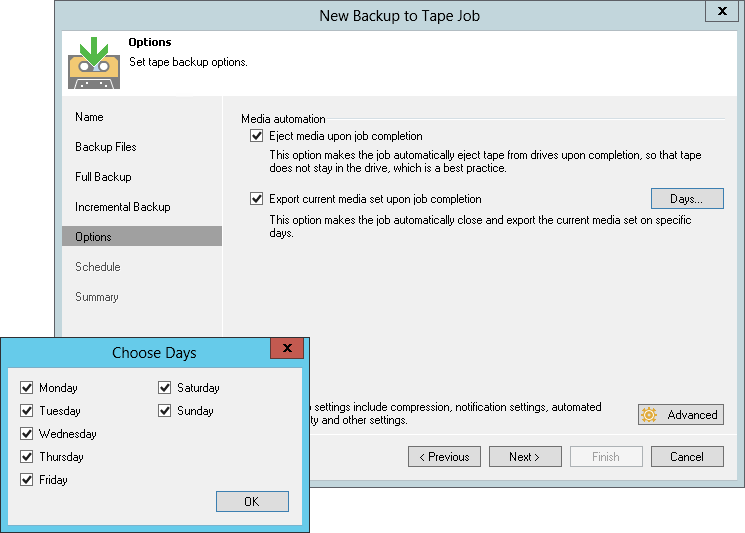 Veeam brings you convenient options for backup to tape and file to tape jobs.