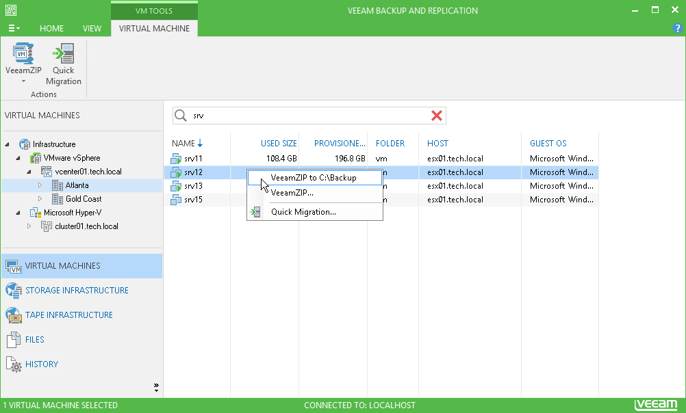 Veeam Backup Free Edition for virtual machines (VeeamZIP)