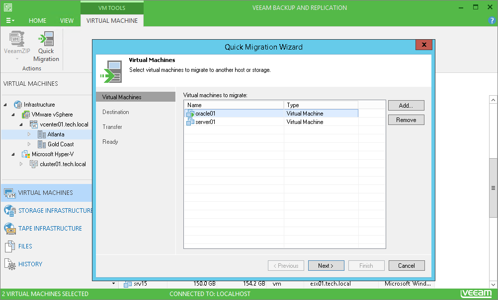 With Veeam Backup Free Edition, you can migrate a live VMware VM to any host or data store—even if you don