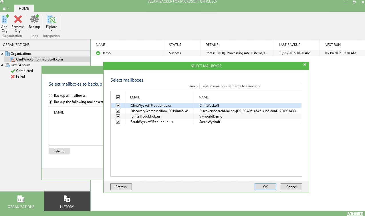 Perform eDiscovery of an Office 365 email archive from a Veeam backup.