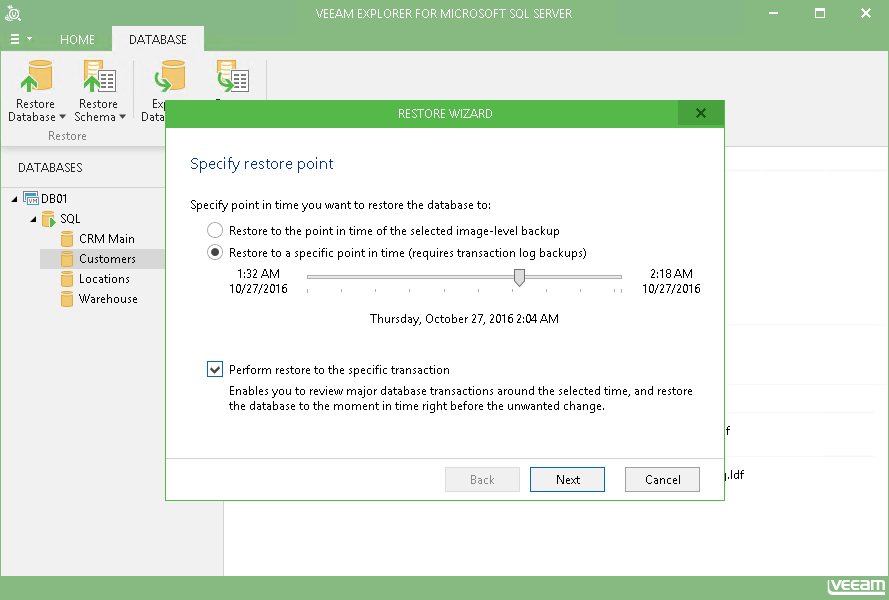 Ajustez le point de restauration dans Veeam Explorer for Microsoft SQL Server