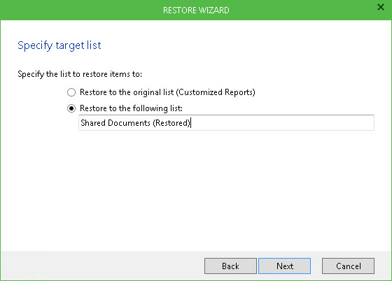 Veeam Explorer for Microsoft SharePoint lets you restore SharePoint documents, items, document libraries and lists.