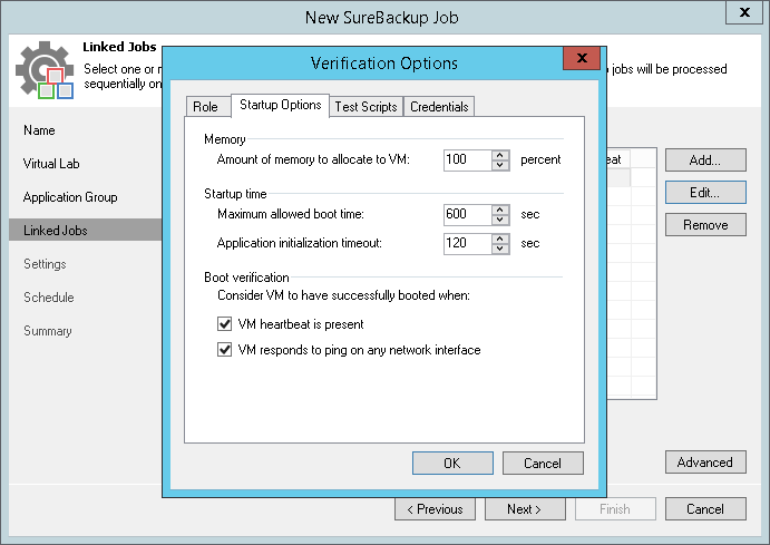 Choose verification options in new SureBackup job