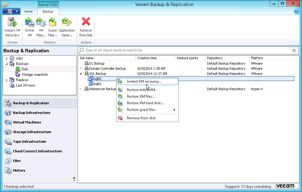 With Instant VM Recovery, you can restore an entire machine from backup in a matter of minutes