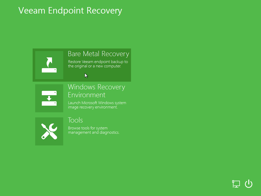You can use Veeam Endpoint Backup to perform bare-metal restore, restore volumes and specific files on your computer.