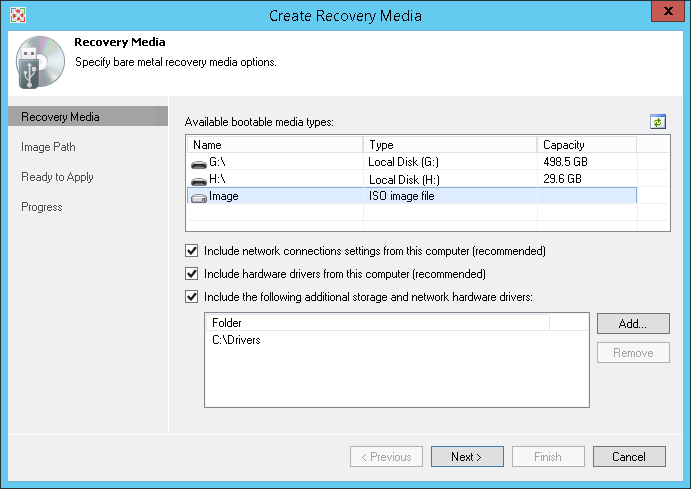 In addition to creating a backup, you can create a recovery image to protect against a situation when your OS fails to boot.