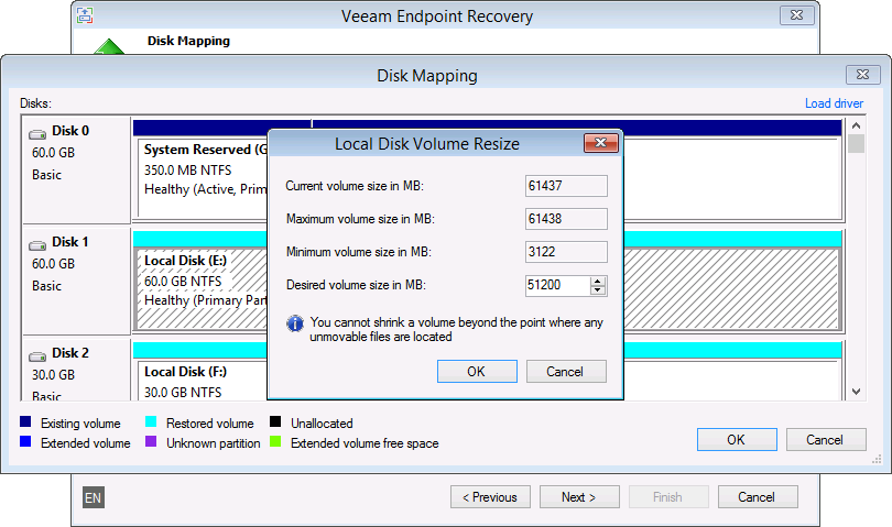 You can use Veeam Endpoint Backup to restore to a smaller disk and to resize volumes during recovery.