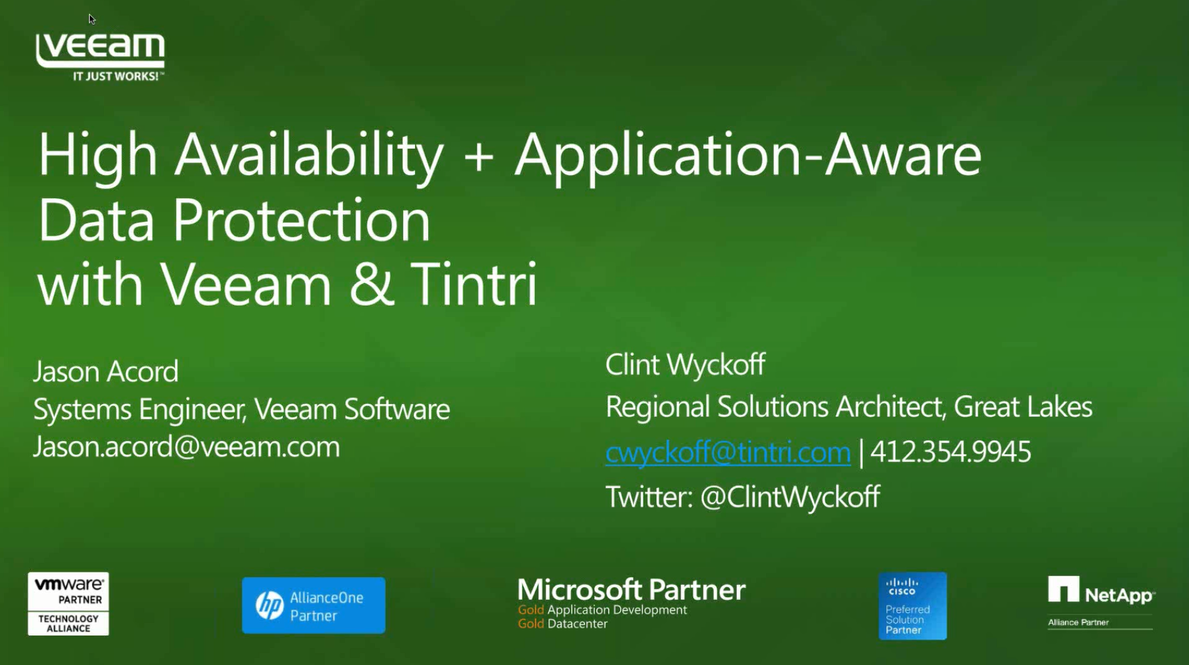 High Availability + Application-Aware Data Protection with Veeam & Tintri