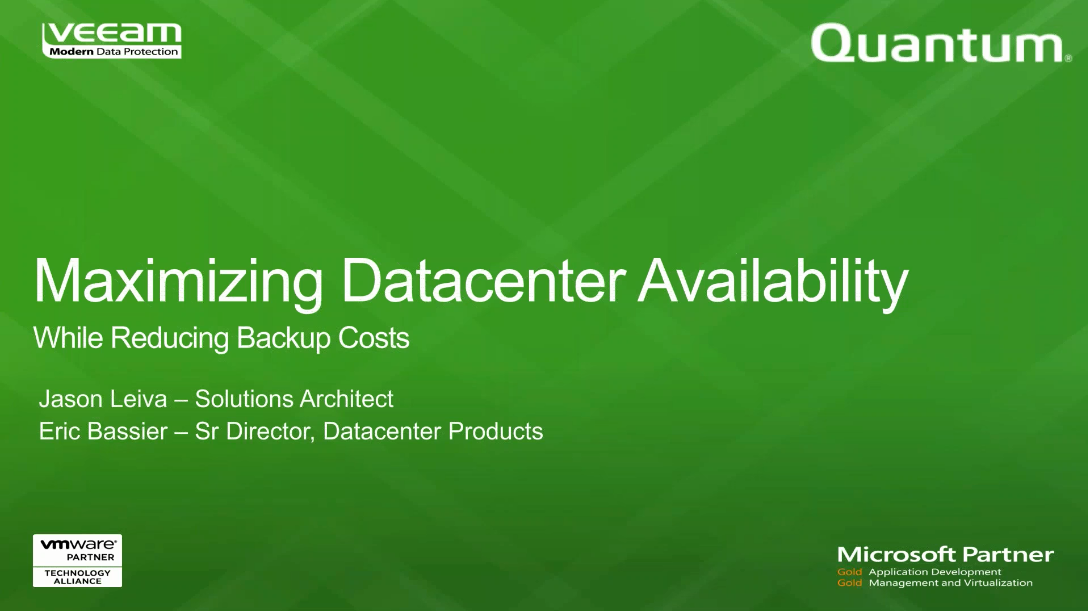High Availability for the Modern Data Center: Veeam & Quantum