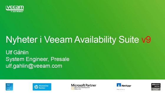 Nyheter i Veeam Availability Suite version 9!